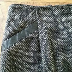 Vintage Tweed Long Pencil Skirt Leather Trim